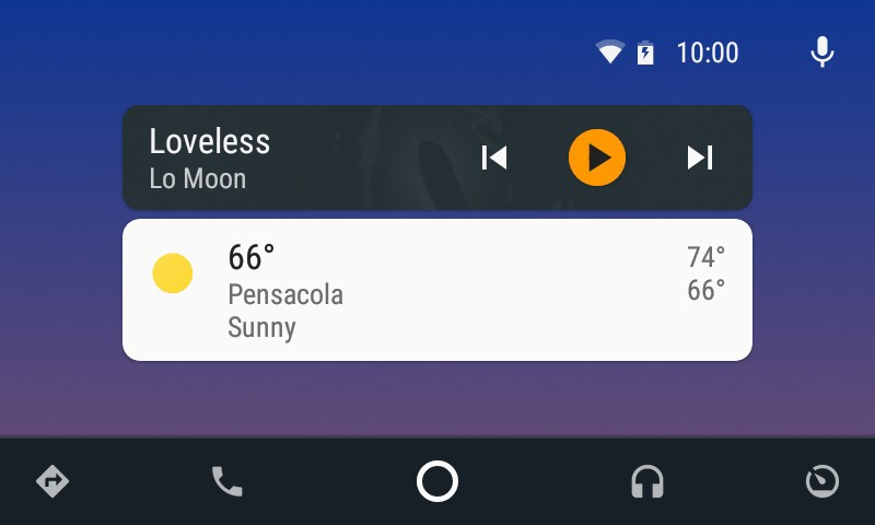 Android auto home screen