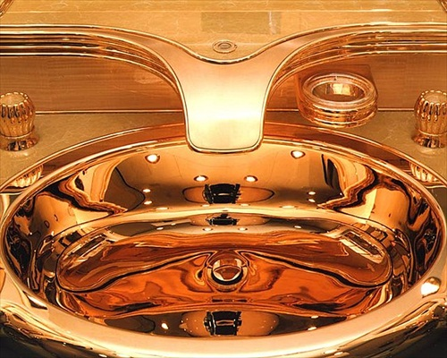 Sultan Brunei Gold Washbasin Boeing 747-430