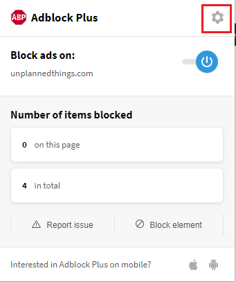 Adblock-Extension Settings